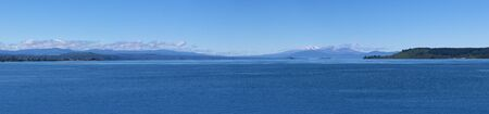 Lake Taupo and volcanoes in Tongariro National Park, New Zealand
