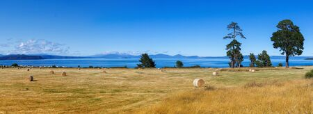 Picturesque landscape, lake Taupo and volcanoes ilandscape, New Zealand Stock Photo