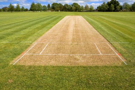 Cricket pitch sport grass field empty background