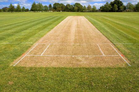 Cricket pitch sport grass field empty background 免版税图像 - 131977255