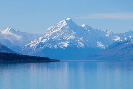 Mount Cook reflection in Pukaki lake, New Zealand