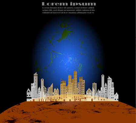 Cityscape paper style on browns planet and blue planet concept with sample text on back background for science astronomy,Future Settlements.