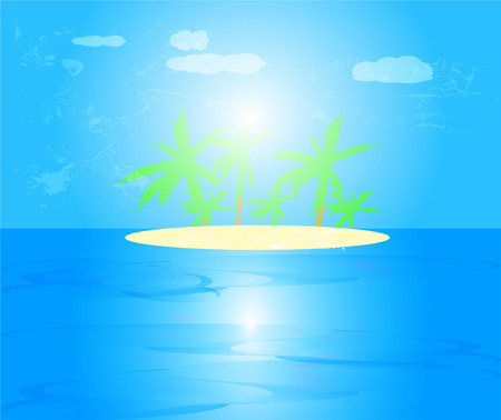 Seascape with palm tree on island in the sea with blue sky and clouds background and reflection of sun in water,vector illustration.