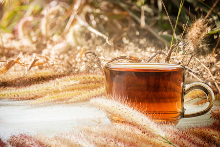 Tea cup and Flowers grass on white wooden background,nature with vintage style, Morning with hot tea.