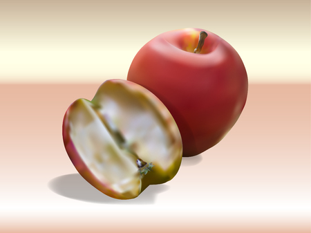 Abstract Red apple and Rotten Apple on soft background,Vector illustration.