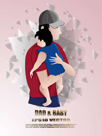 Father consoling the crying baby.Father holding a child after returning home.Family flat design, Vector illustration. Illustration