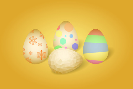 Realistic illustration of four easter eggs