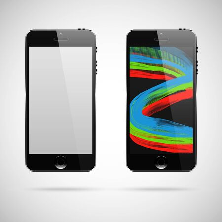 Modern touchscreen cellphone tablet smartphone isolated on light background