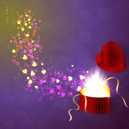Valentines gifting box with little hearts fly out of the box on an abstract background. Illustration