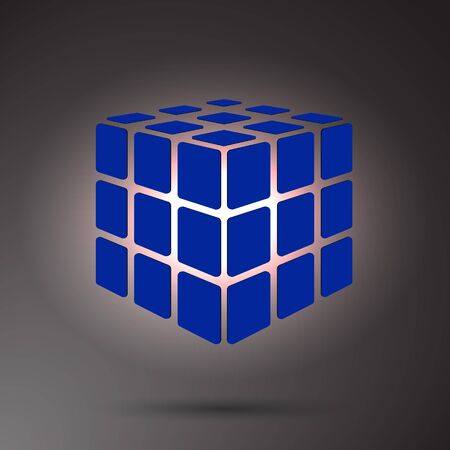 Blue cube 3D on a dark background, can use for business concept, education, brochure object