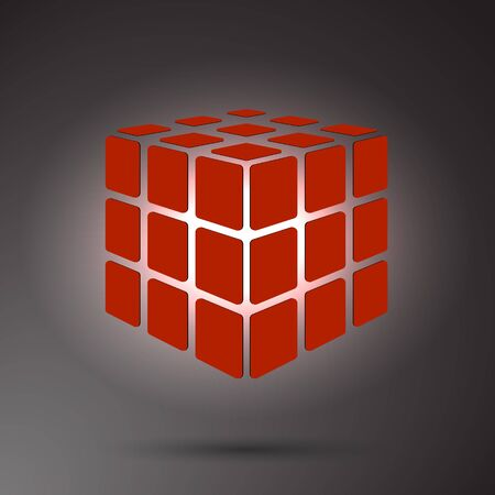 Red cube 3D on a dark background, can use for business concept, education, brochure object