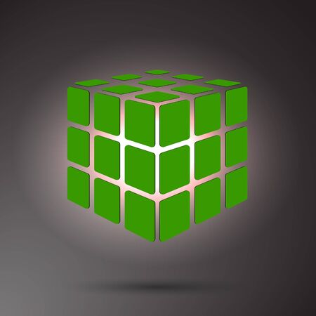 Green cube 3D on a dark background, can use for business concept, education, brochure object Иллюстрация