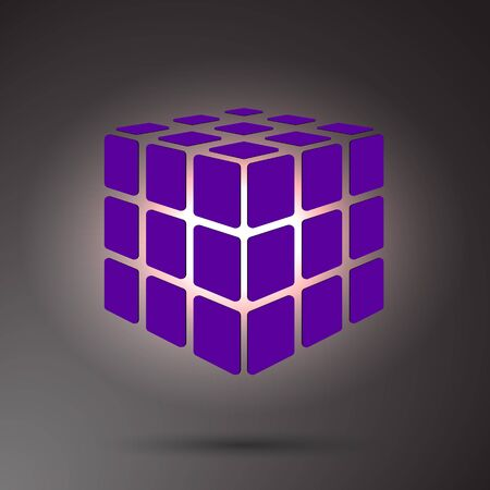 Purple cube 3D on a dark background, can use for business concept, education, brochure object Иллюстрация