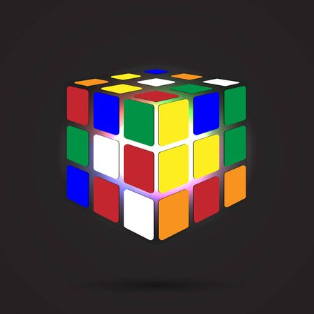 Multicolored cube 3D on a dark background, can use for business concept, education, brochure object