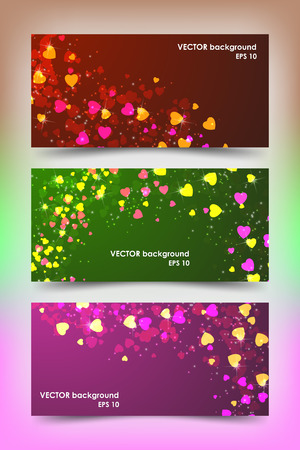 Set of colored banner templates with little hearts. Bright modern abstract design. Иллюстрация