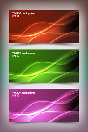 website header: Set of colored banner templates. Bright modern abstract design.