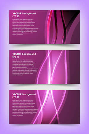 Set of violet banner templates. Bright modern abstract design.