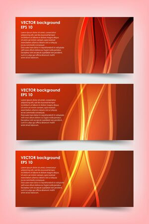 Set of red banner templates. Bright modern abstract design.