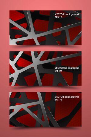 Set of colored banner templates. Digital background illustration carbon.