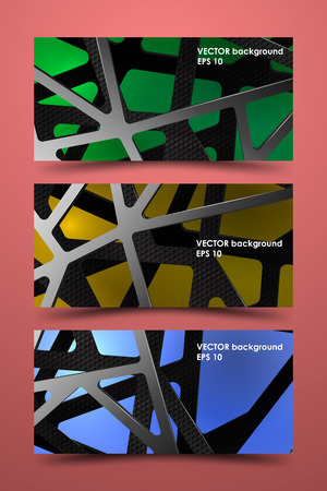 Set of colored banner templates. Digital background illustration carbon. Фото со стока - 53115814