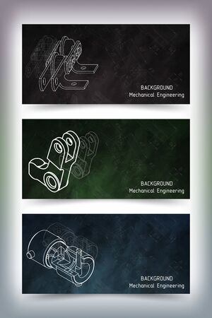 Set of colored banner templates. Mechanical engineering drawings on blackboard. illustration Ilustração