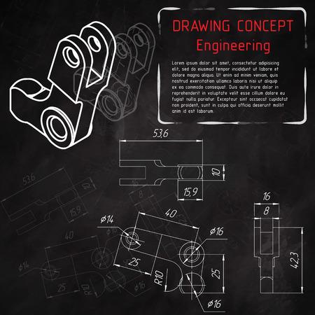 Mechanical engineering drawings on blackboard. illustration