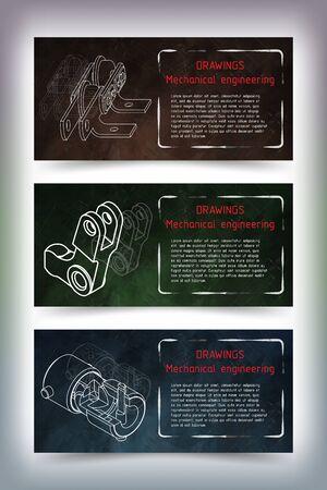 technical university: Set of colored banner templates. Mechanical engineering drawings on blackboard. illustration Illustration
