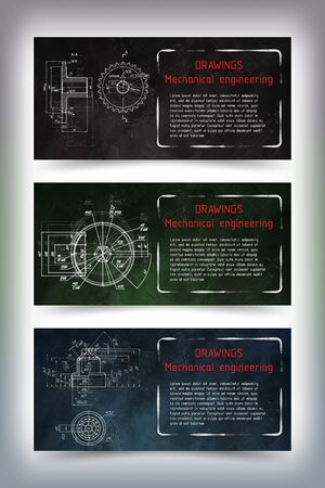 Set of colored banner templates. Mechanical engineering drawings on blackboard. illustration Иллюстрация