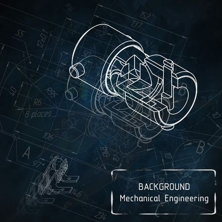 Mechanical engineering drawings on blue blackboard. illustration Ilustração