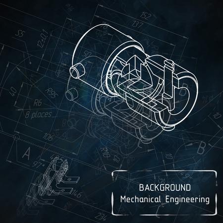 Mechanical engineering drawings on blue blackboard. illustration Иллюстрация