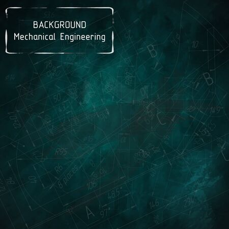 Mechanical engineering drawings on green blackboard. Background. illustration