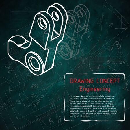 Mechanical engineering drawings on turquoise blackboard. illustration Фото со стока - 56153635