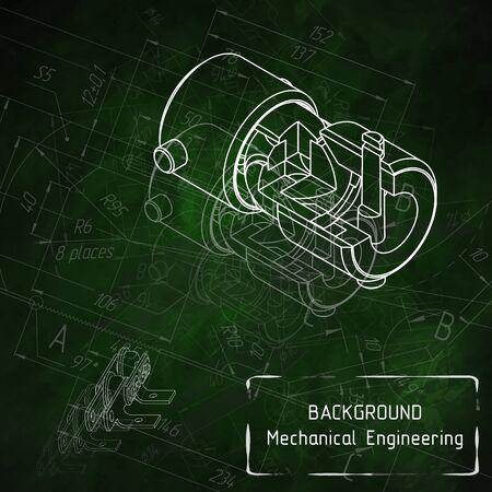 Mechanical engineering drawings on green blackboard. illustration Фото со стока - 56153632