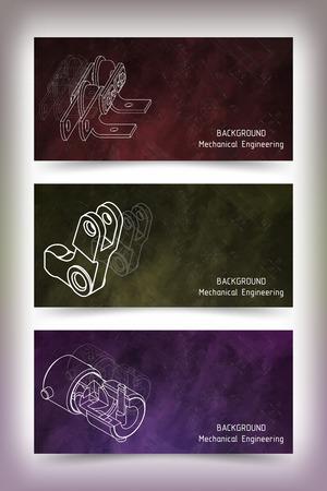 Serie di modelli di banner colorati. disegni di ingegneria meccanica sulla lavagna. illustrazione