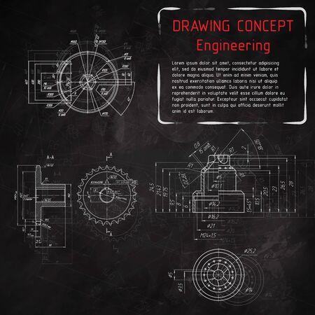 disegni di ingegneria meccanica sulla lavagna. illustrazione