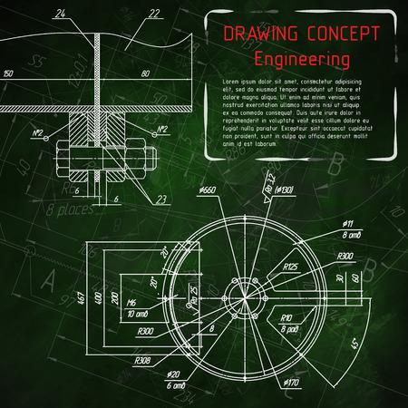 Mechanical engineering drawings on green blackboard. illustration