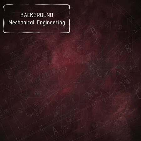 Mechanical engineering drawings on red blackboard. Background. illustration Фото со стока - 56153642