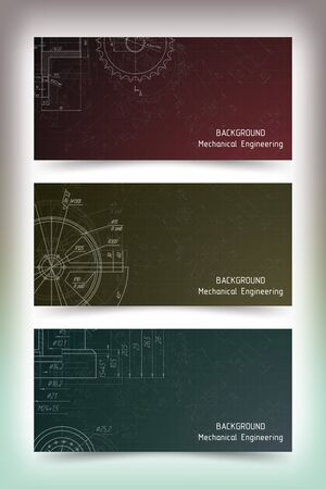 Set of colored banner templates. Mechanical engineering drawings on blackboard. illustration Фото со стока - 56153641