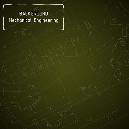 Mechanical engineering drawings on yellow blackboard. Background. illustration
