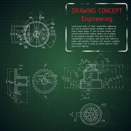 Werktuigbouw tekeningen op groene schoolbord. illustratie Vector Illustratie