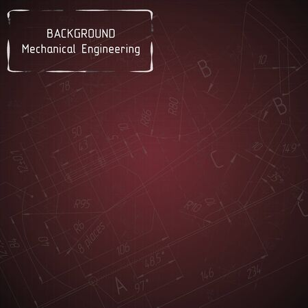 technical university: Mechanical engineering drawings on red blackboard. Background. illustration