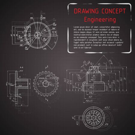 Werktuigbouw tekeningen op het bord. illustratie