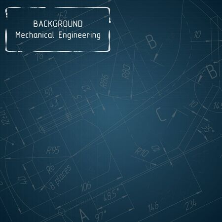 Mechanical engineering drawings on blue blackboard. Background. illustration Иллюстрация