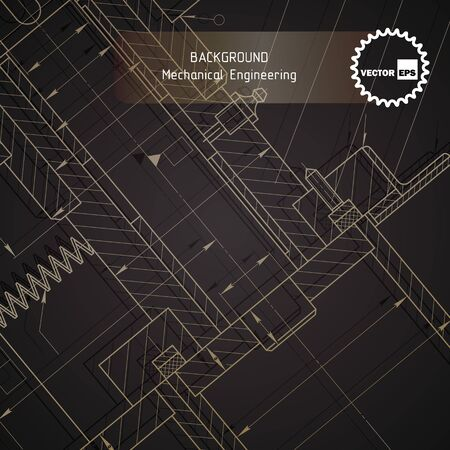 technical university: Background of mechanical engineering drawings on dark. illustration