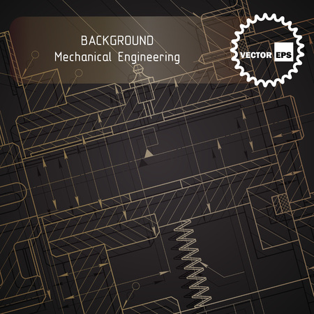 Background of mechanical engineering drawings on dark. illustration Фото со стока - 56153894