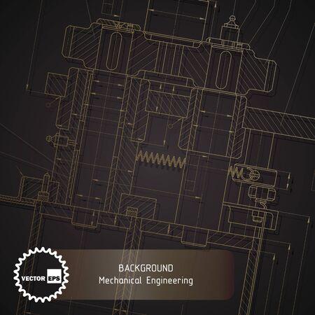 Background of mechanical engineering drawings on dark. illustration