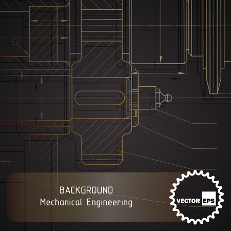 Background of mechanical engineering drawings on dark. illustration