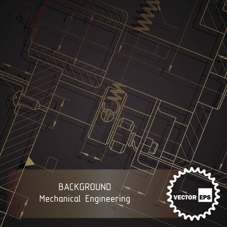 Background of mechanical engineering drawings on dark. illustration Фото со стока - 56153900