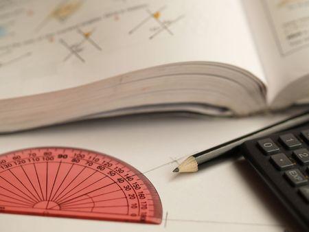 schoolwork: Schoolwork with maths equipment