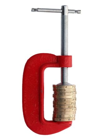 coinage: Money in a g-clamp with distortion showing financial pressure
